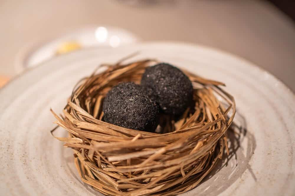 A small egg coated in ash, sauce made of dried trout and pickled marigold